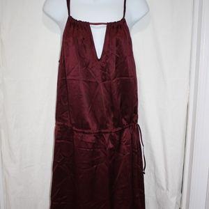 BCBG Maxazria Dress Silk Stunning Solid Maroon